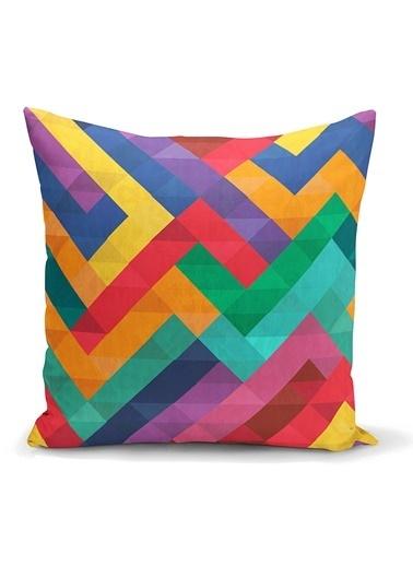 Real Homes Renkli Geometrik Desen Dijital Baskılı Yastık Kırlent Kılıfı Renkli